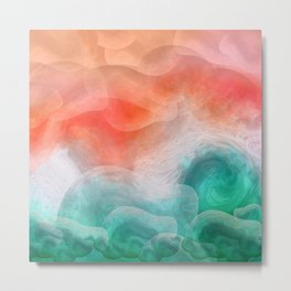 """Coral sand beach and tropical turquoise sea"" Metal Print"