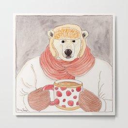 Polar Bear with Hot Chocolate Metal Print
