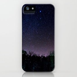 Star Night Sky Purple Hes With Forest Silhouette iPhone Case