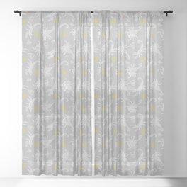 Scorpio Moon on Grey Sheer Curtain