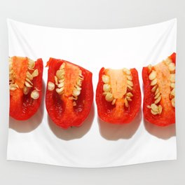 Sliced red peppers Wall Tapestry