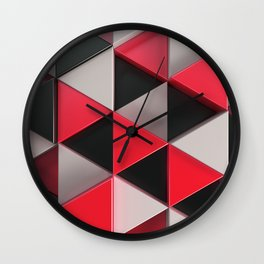 Pattern of black, white and red triangle prisms Wall Clock