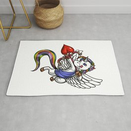 Magical Unicorn Cupid Valentines Day Rug