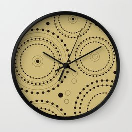 Circles in Circles Design Black on Light Gold Wall Clock