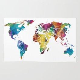 Geometric World Map Rug