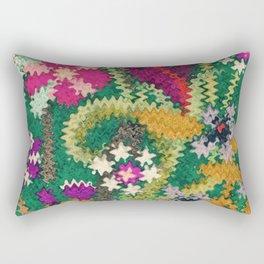 Starry Floral Felted Wool, Green Rectangular Pillow