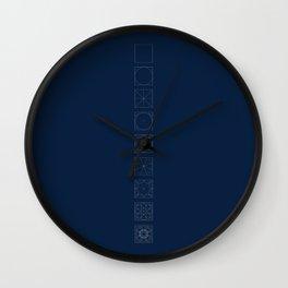8 fold rosette in blue Wall Clock