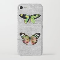 newspaper iPhone & iPod Cases featuring Newspaper and Butterflies by Juliana Zimmermann