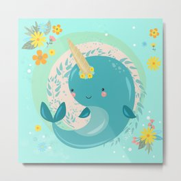 Pretty Princess Narwhal Metal Print