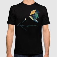 Flying Bird...house Black Mens Fitted Tee LARGE