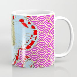 ORIGINAL ORIENTAL STYLE RED-WHITE EXOTIC BUTTERFLY PINK ART Coffee Mug