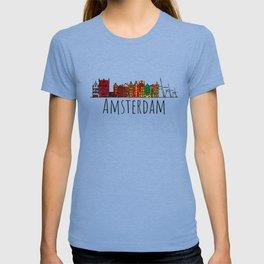 Amsterdam Skyline Holland Love Travel Destination Graphic Design T-shirt