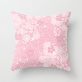Pink Sakura Throw Pillow
