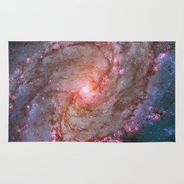 Spiral Galaxy, Space, Southern Pinwheel in Pink and Blue- A View of the Stars Rug