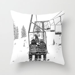 Snow Lift // Ski Chair Lift Colorado Mountains Black and White Snowboarding Vibes Photography Throw Pillow
