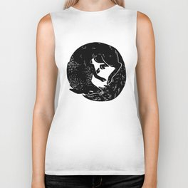 black and white thoughts Biker Tank