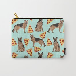 German Shepherd pizza party dog person gifts pet portraits dog breeds cheesy pizzas Carry-All Pouch