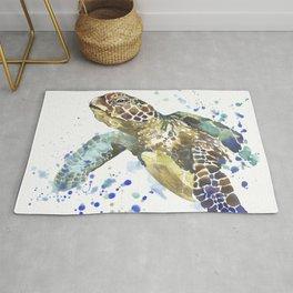 Abstract Watercolor Sea Turtle on White 2 Minimalist Coastal Art - Coast - Sea - Beach - Shore Rug