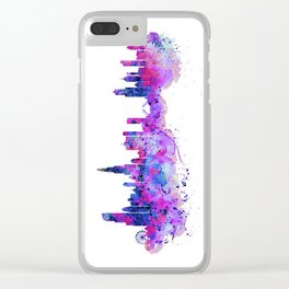 Chicago Watercolor Skyline 2 Clear iPhone Case