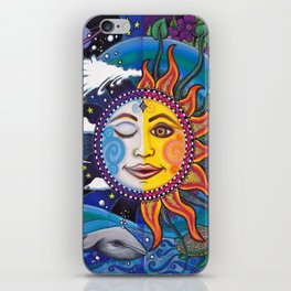 Sun and Moon Art by Julie Oakes iPhone Skin