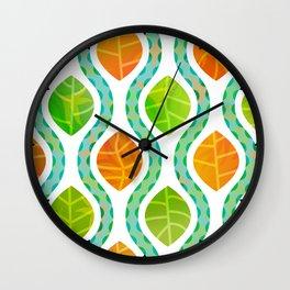 Autumn Leaves & Wavy Rain Wall Clock