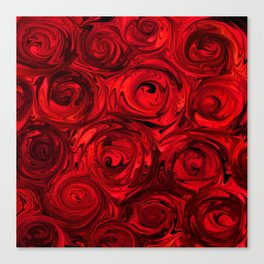 Red Apple Roses Abstract Canvas Print