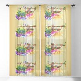 Summer music instruments design Sheer Curtain