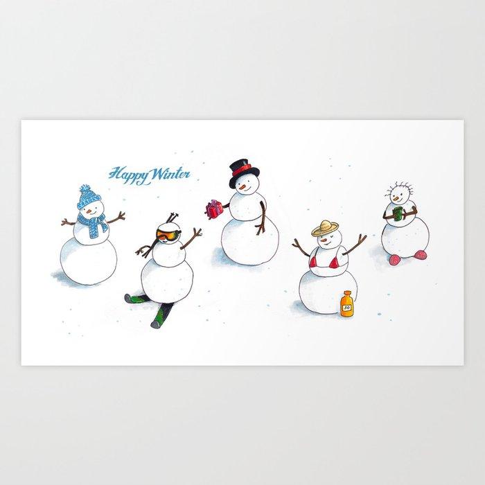 Funny snowmen Art Print