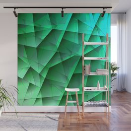 Abstract strict pattern of azure and overlapping fragments and glass lines of irregular shape. Wall Mural