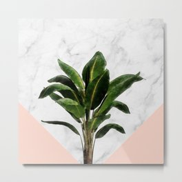 Banana Plant on Pink and Marble Wall Metal Print