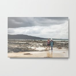 Cloudy Walkerville Beach Walk Metal Print