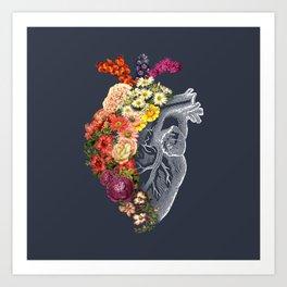 Flower Heart Spring Blue Grey Art Print