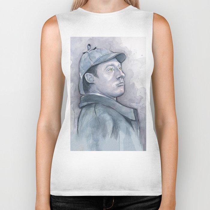 Data as Sherlock Holmes Watercolor TNG Portrait Biker Tank