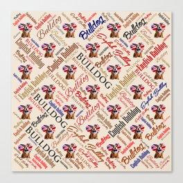 English Bulldog Puppy Word Art Canvas Print