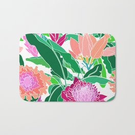 Bird of Paradise + Ginger Tropical Floral in White Bath Mat