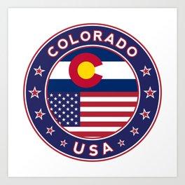 Colorado, Colorado t-shirt, Colorado sticker, circle, Colorado flag, white bg Art Print