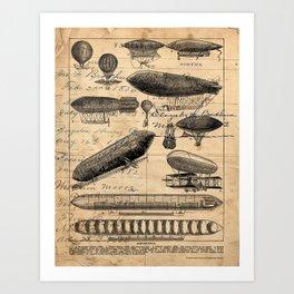 Vintage Hot Air Balloon Study Art Print