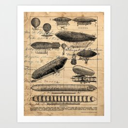 Vintage Hot Air Balloon Study Art Print