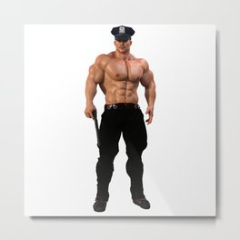 Police-Hunk Metal Print