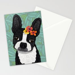 Tropical Boston Terrier Girl Stationery Cards