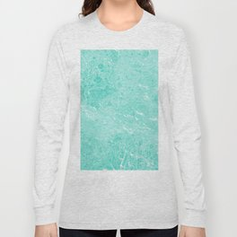 Modern turquoise white abstract marble pattern Long Sleeve T-shirt