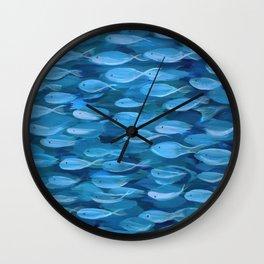 Shimmer Shoal in Blue Wall Clock