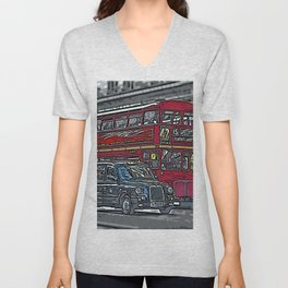 London bus and cab Unisex V-Neck