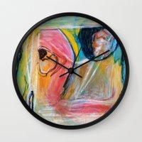 beth hoeckel Wall Clocks featuring Goonie by Beth Ann Short by Beth Ann Short