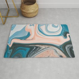Blue Vanilla Cream Liquid Marble Swirling Pattern Texture Artwork #1 Rug