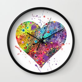 Heart Watercolor Art Print Love Home Decor Valentine's Day Wedding or Engagement Gift Wall Clock
