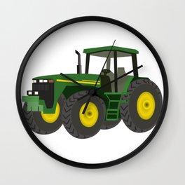 Green Farm Tractor Wall Clock