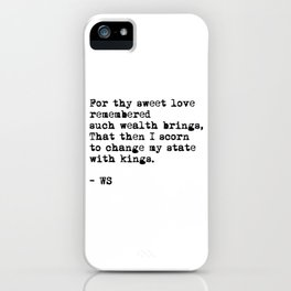 Sonnet 29 - Love Sonnet on white iPhone Case