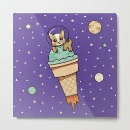 Kawaii Corgi Dog on an Ice Cream Rocket in Space Metal Print
