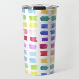 Watercolor paint palette swatches sample or color chart in rainbow hues Travel Mug